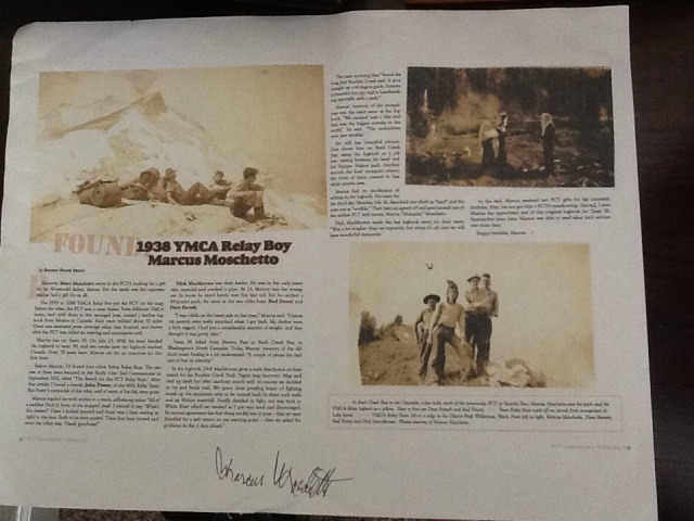 "Copy of ""Scouts"" 2013 PCT Communicator article autographed by an original ""Relay Boy"" Marcus Moschetto"